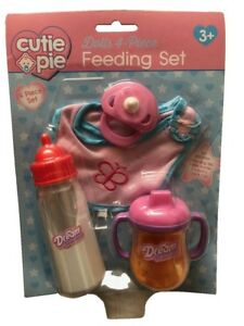 Cutie-Pie-Baby-Dolls-4-Piece-Feeding-Accessory-Set-Playset-Bib-Bottle-Cup-Dummy