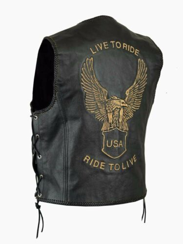 Moto con New Rocker Leather Chopper Cowl Vest Vest Goffratura Biker Club  Eagle TxYqgzxw d342bbf9455