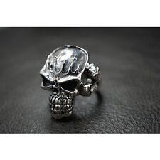 925 Sterling Silver Fire Flame V Twin Skull Ring for Harley Davidson Biker SR34