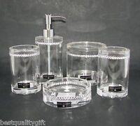 Hotel Balfour 5 Pc Set Clear Acrylic+rhinestone Round Soap Dispenser+dish+3 More
