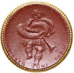 Meissen-Muenze-10-Mark-1921-LUDWIG-RICHTER-FEST-Porzellan-vergoldet