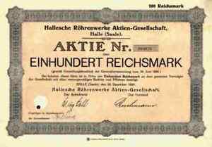 Adroit Hallesche Tubes Werke Ag 1924 Halle Saale Saxe Prolongée 100 Rm Gebr. Muet Saar-afficher Le Titre D'origine
