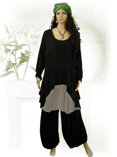 PoCo DeSiGn LAGENLOOK Überwurf Tunika Long-Shirt ❷Fb schwarz weiß  L-XL-XXL-XXXL