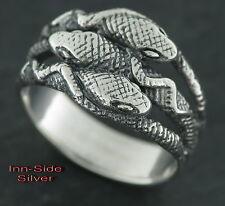 Gothic SCHLANGENRING Snake Silberring 925 3 in sich verschlungene Schlangen