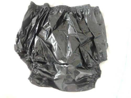 "ADULT BABY GLOSSY BLACK VERY NOISY PLASTIC PANTS SIZE L LARGE 29/""-36/"" WAIST"
