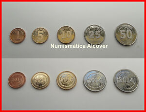 1+2+5+10+25 Dollars UNC LOT of 10 ZIMBABWE COMPLETE COIN SET 1+5+10+20+50 Cents