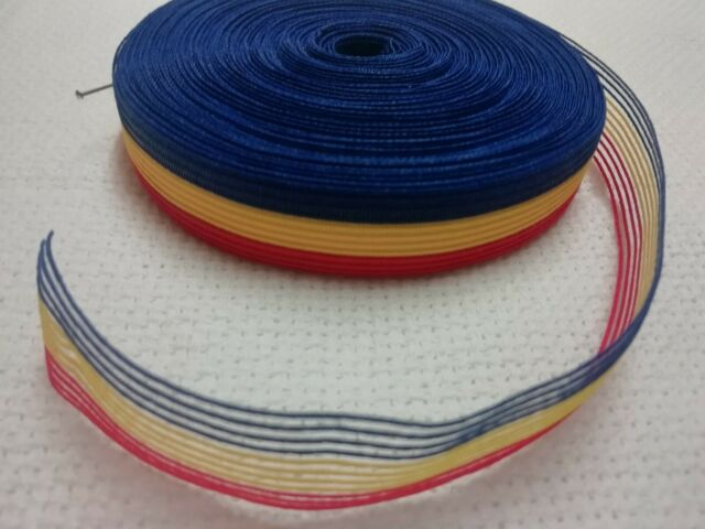RIBBON by yard 20MM 3 COLOURS BLUE YELLOW RED CRAFT BOWS ROMANIAN MINI FLAGS