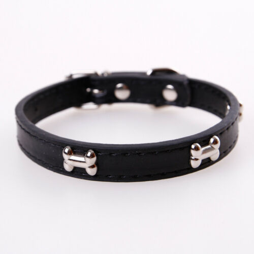 Dog Collar PU Leather Puppy Pet Collars Bone Charms Decoration Rivet Dogs Collar