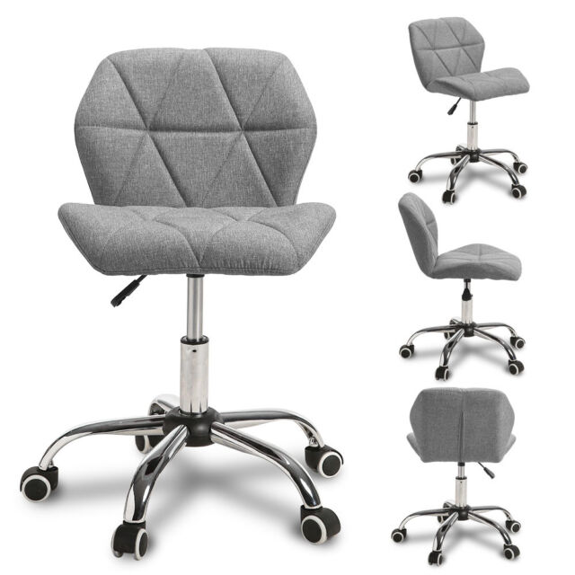 Cushioned  Adjustable Computer Desk Office Chair 360° Swivel Chrome Legs Black