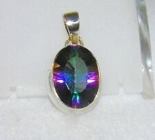 Mystic Quartz Thick Sparky Faceted Oval Pendant 925 Sterling Silver