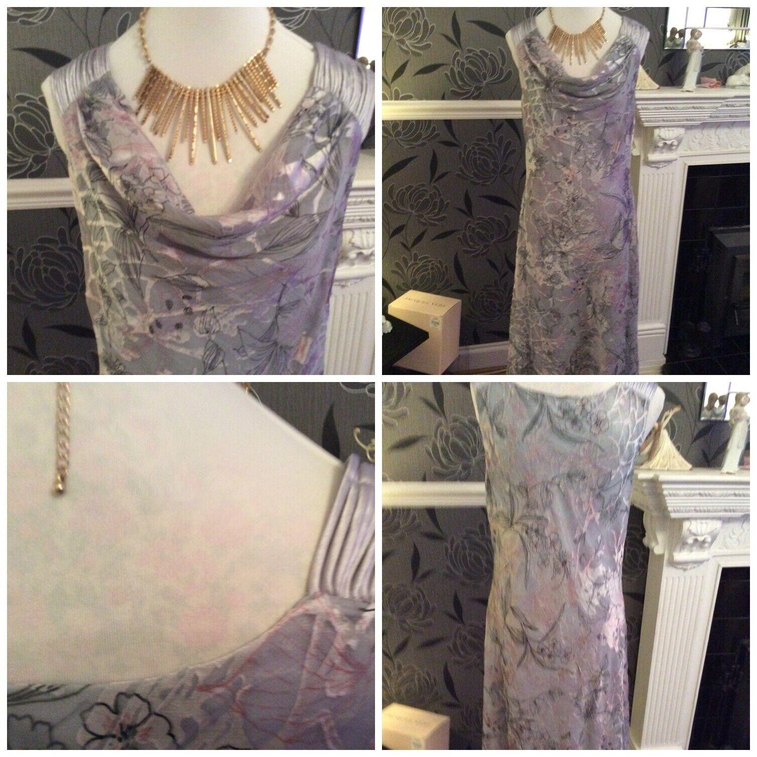 Jacques Vert Fondant & Earl Grey Pink Devore Dress Pristine S 24 Holiday 8.9
