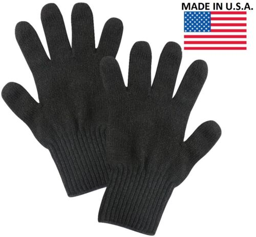 Black Wool Blend Glove Liner Winter Cold Weather Military Blank Gloves US Made