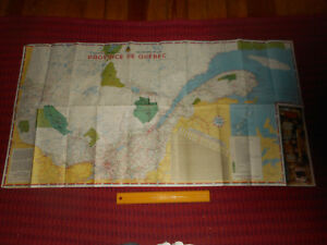 1963-QUEBEC-Road-Map-42-034-x-22-034-French-amp-English-1663-Soverign-Council-France-Mtg