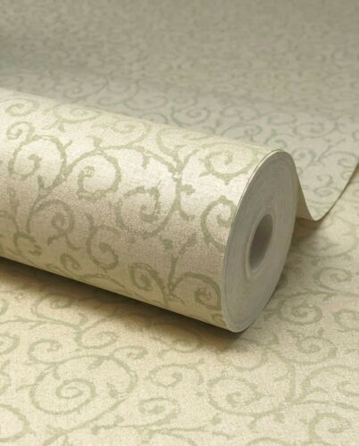 FD66957 Paste The Wall Gold /& Sage Green Vine Scroll Wallpaper