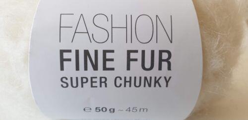 4//6 pelotes alpaga mohair Rico Design Fashion Fine Fur Super Chunky blanc gris