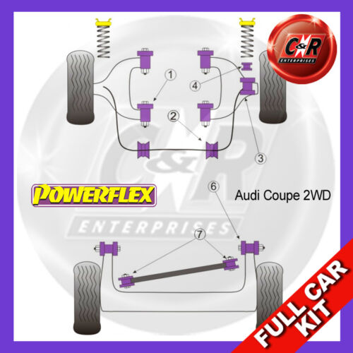 bjnt d.links AUDI COUPE 8B 2WD Powerflex plein Bush Kit-Acier bras round inner