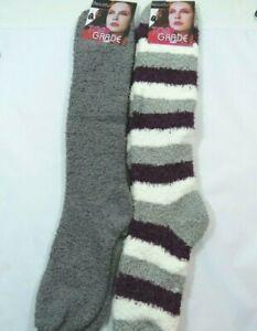 2 Pack Slipper Fuzzy Striped Knee High Socks Womens 9-11 Gray Plum White Q