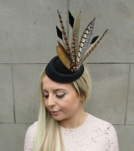 Image is loading Black-Brown-Pheasant-Feather-Pillbox-Hat-Fascinator-Races- be9014f25ec8