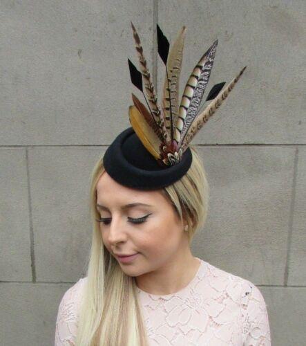 Black Brown Pheasant Feather Pillbox Hat Fascinator Races Hair Clip Ascot 5289