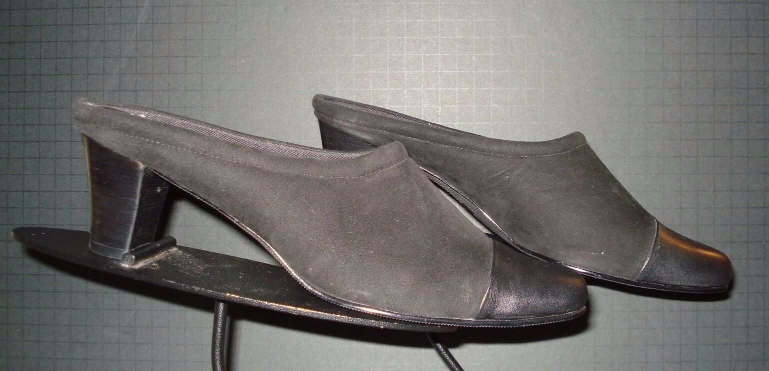 Ros Hommerson Black Stretch Fabric Leather Cap-Toe Heeled Slides Sz. 9.5N