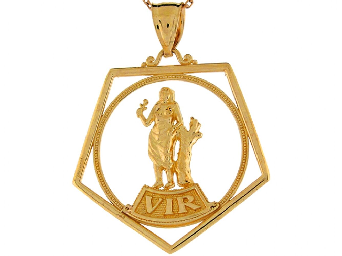 10k or 14k Real Yellow gold Virgo Astrological Zodiac 3.5cm Charm Pendant