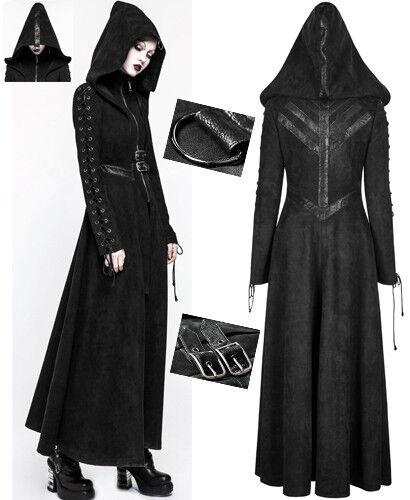 Lang Wildleder Mantel Gothic Punk Lolita Dieselpunk Schnürung Kapuze PunkRave