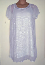 NEXT 2 PIECE WHITE-IVORY EMBROIDER CRINKLE GEORGETTE DRESS/TOP/SLIP 16