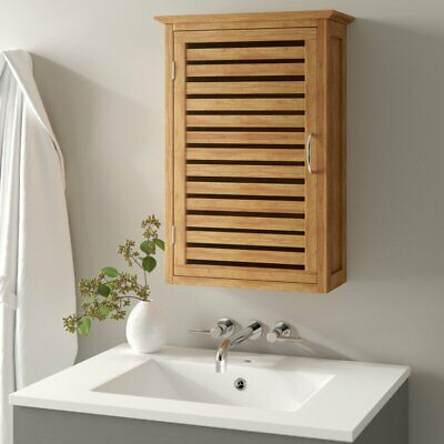 solid wood wall mounted cabinet bamboo shelf spa style