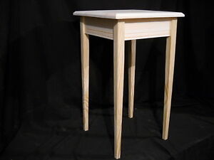 Unfinished Wooden Small Tapered Leg Dorm Table Night Stand