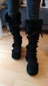 sports shoes 5ddc7 d6f9c Details zu Buffalo Stiefel Plateau Retro Schuhe Rarität Schwarz Fell Gr 38  Disco