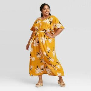 Women's Plus Size Floral Print Flutter Elbow Sleeve Dress - Ava & Viv Gold 2X