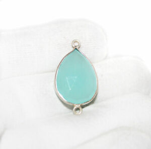 Natural-Aqua-Chalcedony-Gemstone-925-Sterling-Silver-Bezel-Pendant-Jewelry