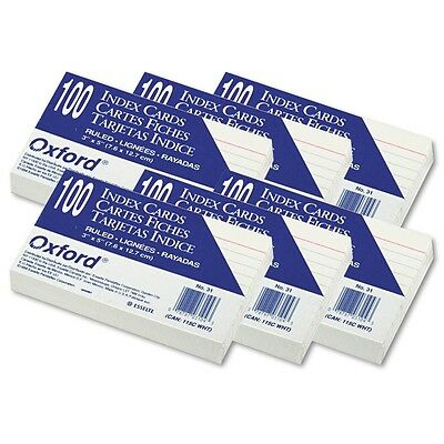 "Oxford - Index Note Cards - Ruled - 3 x 5"" - 100 Cards - 6 Packs - School Study"