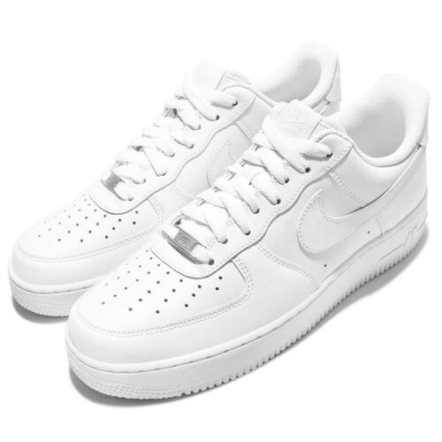 Nike Air Force 1 Classic Triple White with Silver-Colored Metal Men Women Pick 1