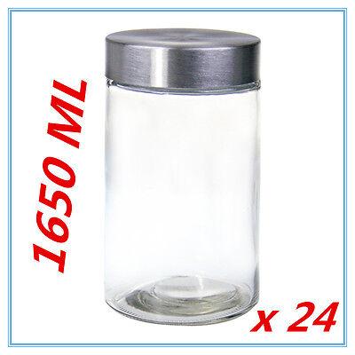 24 x Round Screw Top Large 1650ml Storage Preserving Kitchen Glass Jars COFFEE