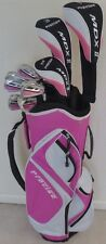 NEW Womens Complete Golf Set Driver Wood Hybrid Irons Putter Cart Bag Pink Color