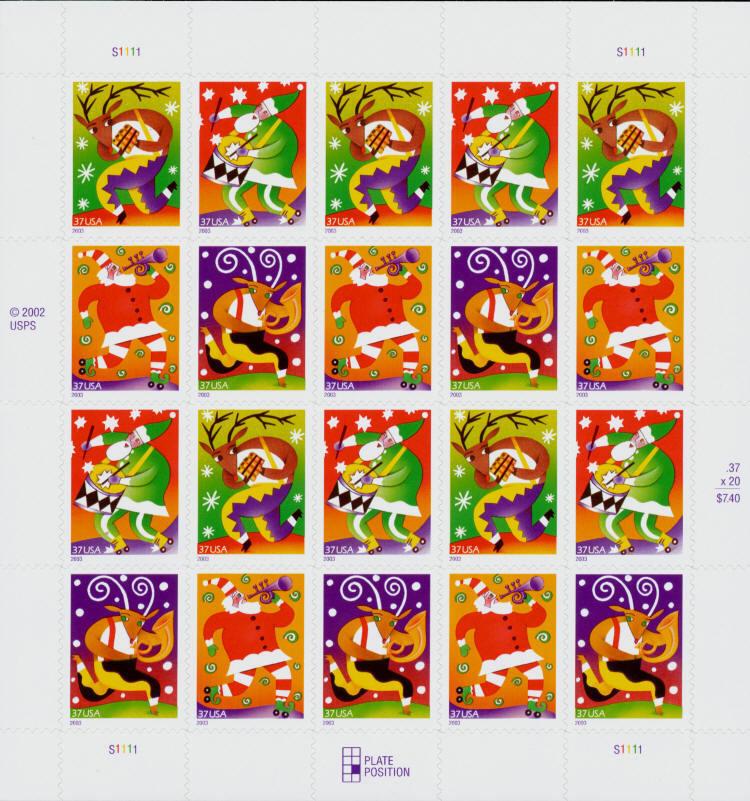 2003 37c Holiday Music Makers, SA, Sheet of 20 Scott 38