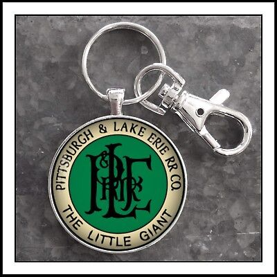 Vintage Railroad Sign Photo Keychain Pittsburgh and Lake Erie Railroad Co.