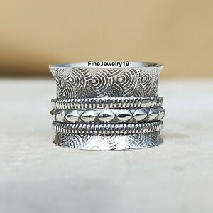 925-Sterling-Silver-Spinner-Ring-Wide-Band-Meditation-Statement-Jewelry-A164