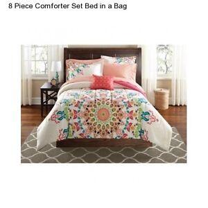 White medallion king size comforter set bedding collage dorm ebay