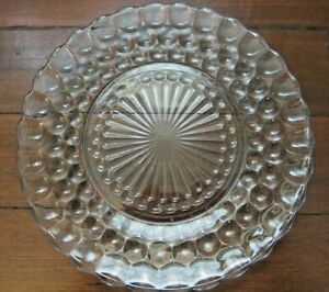 Blue Glass Bubble Dinner Plate Anchor Hocking Depression Glass 1940s