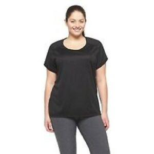 a779e157 Details about C9 by Champion Duo-Dry Womens Crew Neck Cotton T-Shirt Black/Ebony  size 1X