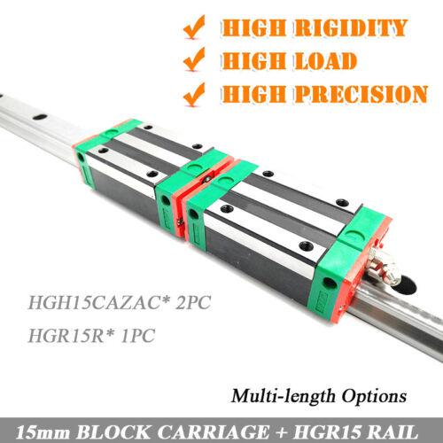 HIWIN HGR15 L100mm-1000mm Linear Slide Rail 2PCS MGN15C Sliding Block CNC Kit