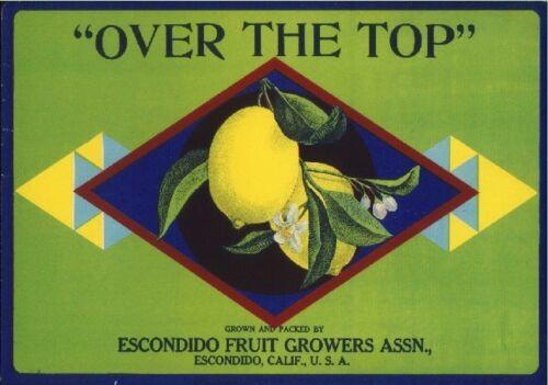 "Escondido /""Over the Top/"" Lemon Citrus Crate Label Print"