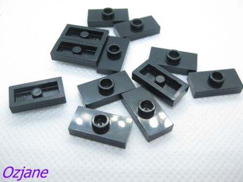 LEGO PART 3794 PLATE MODIFIED 1 X 2 WITH 1 STUD BLACK X 12 PIECES
