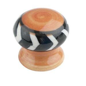 Orange Et Noir Ceramic Cabinet Knobs Fourni Avec Fixation Fil-afficher Le Titre D'origine Marchandises De Haute Qualité
