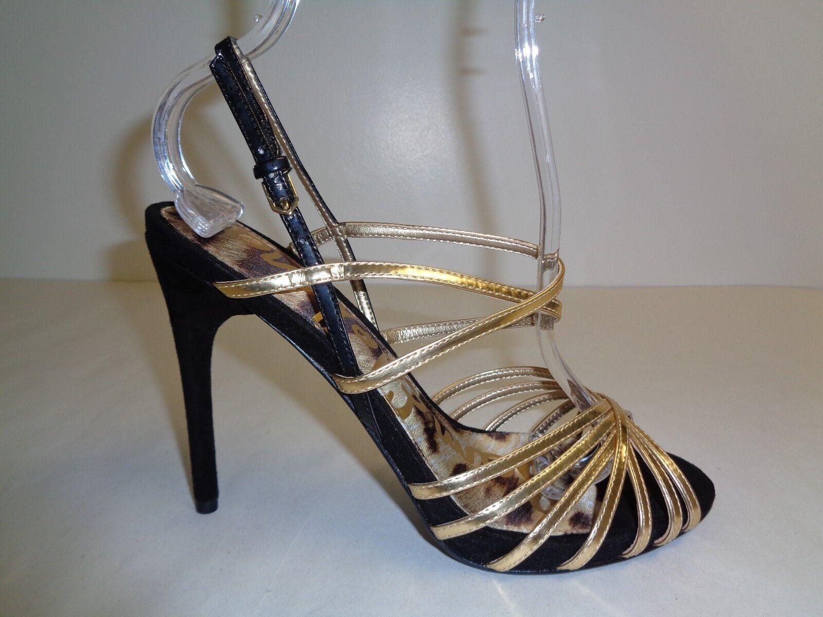 Sam Edelman Size 6 M HARLETTE gold Black Leather Sandals New Womens shoes