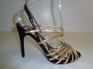 65712e129e1da9 Sam Edelman Size 10 M HARLETTE Gold Black Leather Sandals New Womens ...
