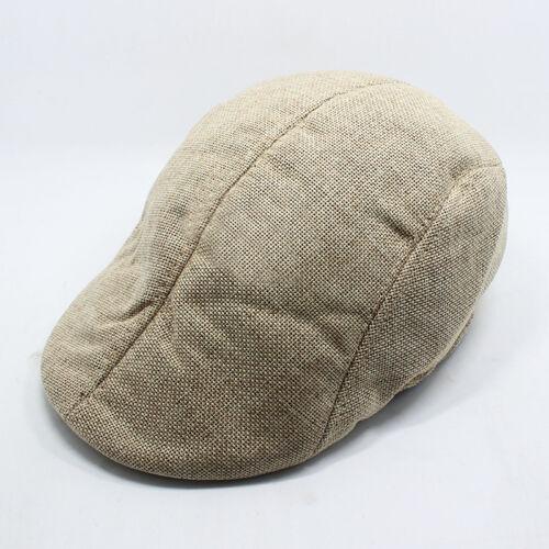 Herren Leinen Schirmmütze Schiebermütze Flatcap Bakerboy Newsboy Gatsby Hüt DE