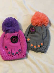 Girls-Accessories-Hat-amp-Glove-Set-Metal-Stud-Decor-Gray-or-Pinks-One-Size